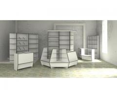Торговая мебель для магазинов,витрины, прилавки,торговые островки, ресепшен.