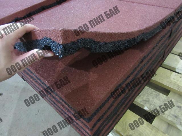 Плитка резиновая 500х500х30 терракотовая - 2/2